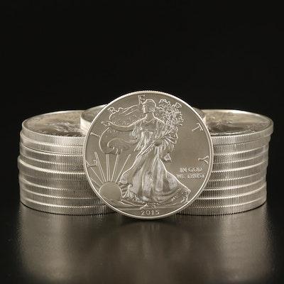 Twenty .999 Fine American Silver Eagle Coins in Sealed U.S. Mint Tube, 2015
