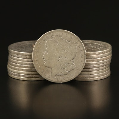 20 Morgan Silver Dollars, 1880s–1900