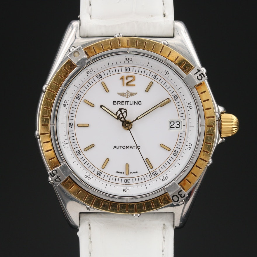 """Vintage Breitling """"Antares"""" 18K Gold and Stainless Steel Automatic Wristwatch"""