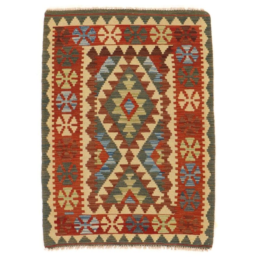3'2 x 4'5 Handwoven Afghan Kilim Accent Rug