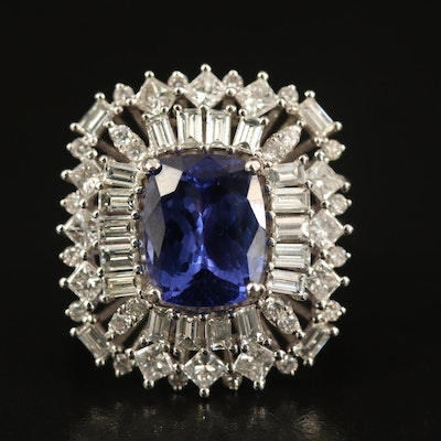 14K 4.44 CT Tanzanite and 2.09 CTW Diamond Ballerina Ring