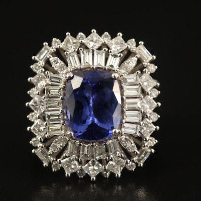 14K 4.44 CT Tanzanite and 2.09 CTW Diamond Ballerina Ring