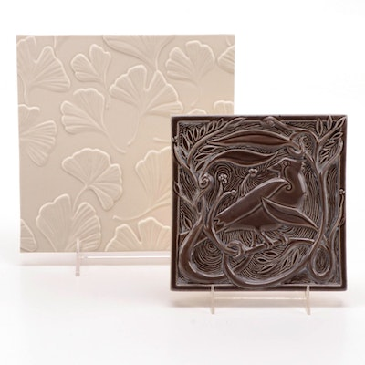 Rookwood Pottery Faïence Rook and Gingko Tiles