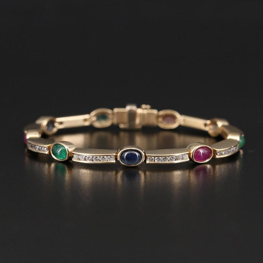 14K Ruby, Sapphire, Emerald and 1.48 CTW Diamond Line Bracelet