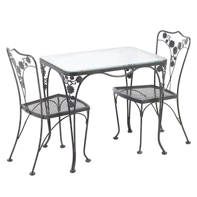 Three Piece Wire Mesh Patio Bistro Set, Late 20th Century