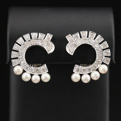 14K 1.92 CTW Diamond and Pearl Earrings