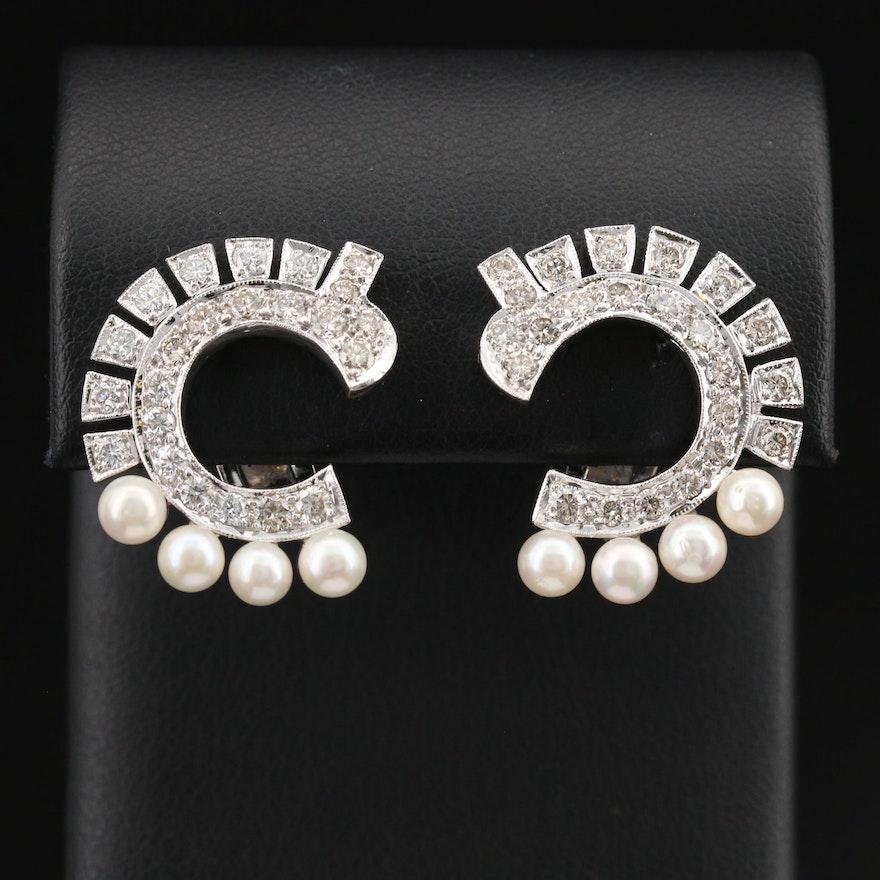 14K 1.92 CTW Diamond and Pearl Earrings