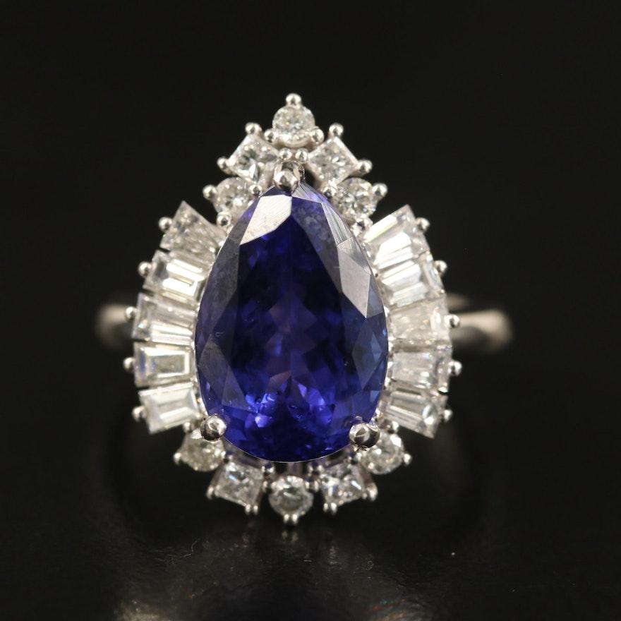 14K 5.98 CT Tanzanite and 1.23 CTW Diamond Ring