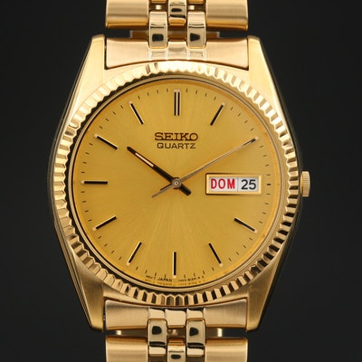 Seiko Day-Date Gold Tone Quartz Wristwatch