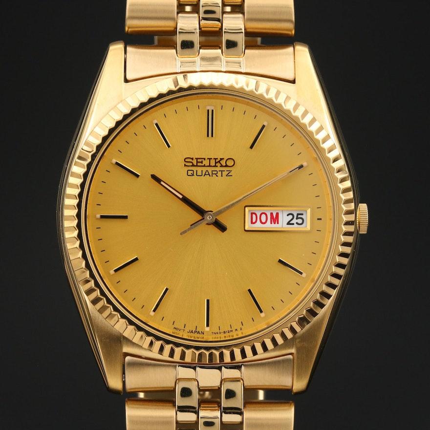 Seiko Day-Date Gold Tone Quartz Wristwatch
