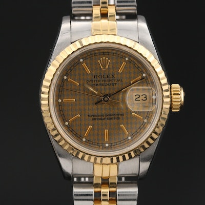1984 Rolex Datejust Houndstooth Dial 18K Gold and Stainless Steel Wristwatch