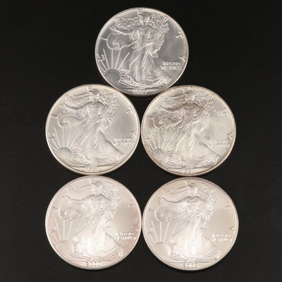 Five $1 American Silver Eagles