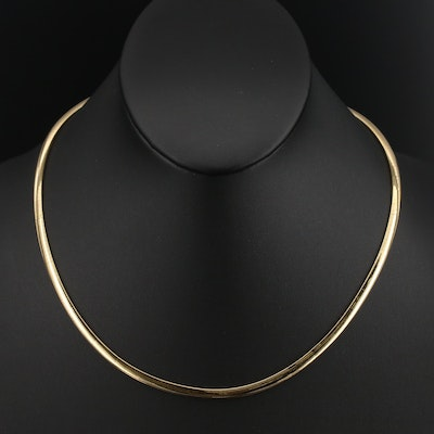 Italian 14K Omega Link Necklace