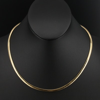 Italian 14K Omega Link Necklace