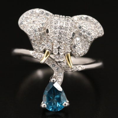 Sterling Topaz and Cubic Zirconia Elephant Ring