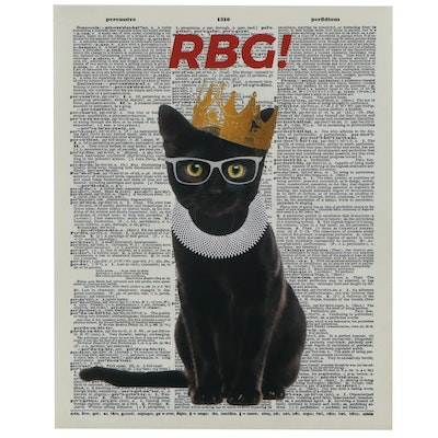 Giclée of Black Cat as Ruth Bader Ginsburg, 21st Century