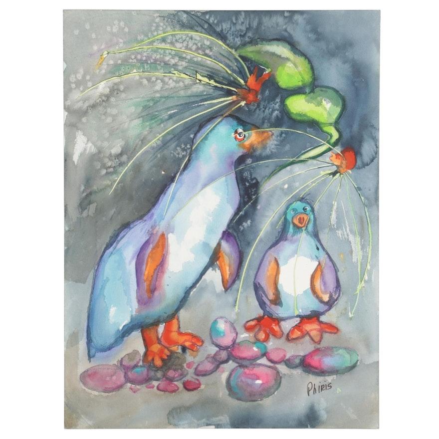 Phiris Sickels Watercolor Painting of Birds
