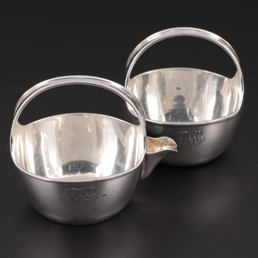 Andrews & Winsten Basket Shaped Sterling Silver Creamer and Sugar Bowl