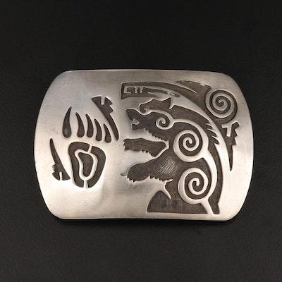 Vintage Dorothy Martinez Navajo Diné Sterling Bear Belt Buckle