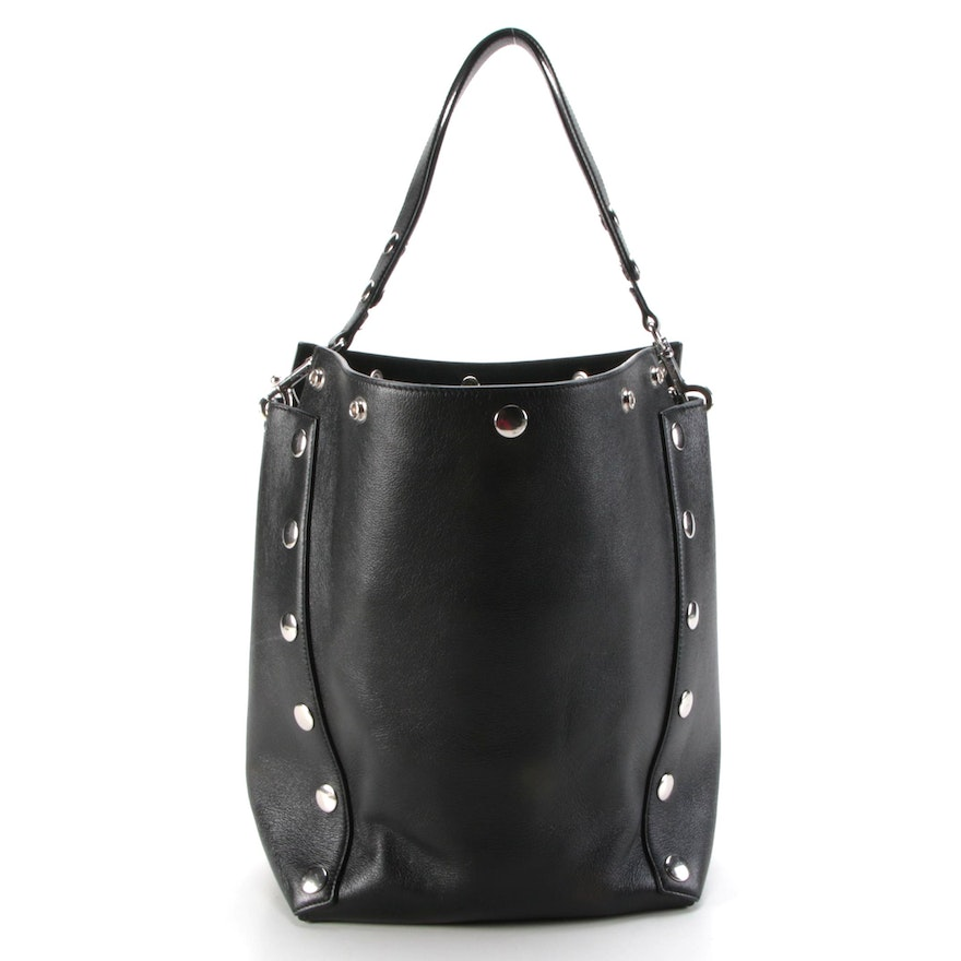 Mulberry Camden Studded Hobo Bag in Black Grained Leather