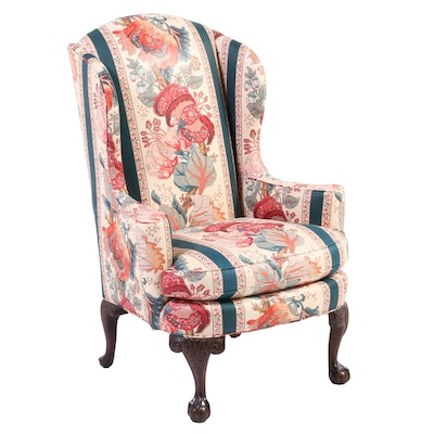 Chippendale Style Upholstered Mahogany Wingback Armchair