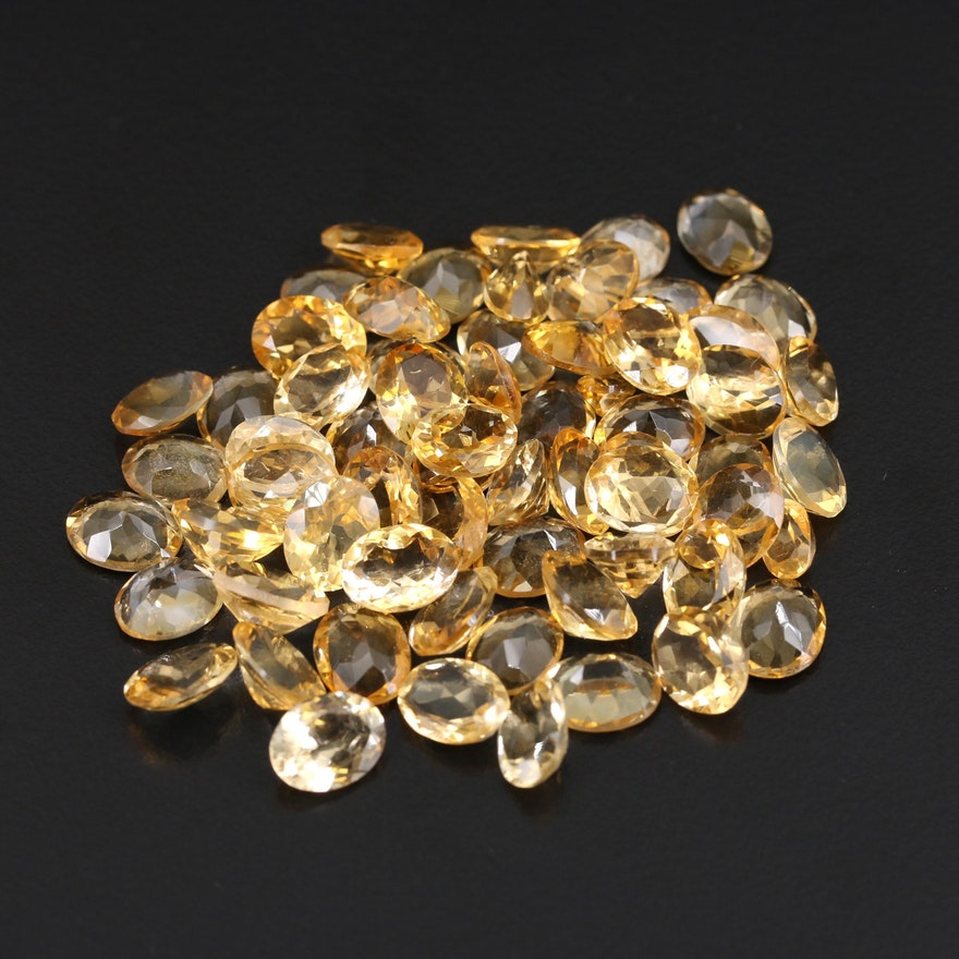 Loose 93.04 CTW Oval Faceted Citrines