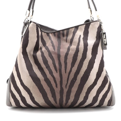 Coach Madison Phoebe Shoulder Bag in Zebra Print Nylon and Brown Leather