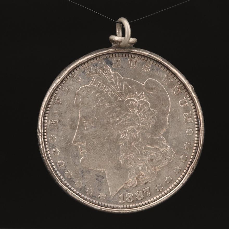 1887 Morgan Silver Dollar Coin Pendant