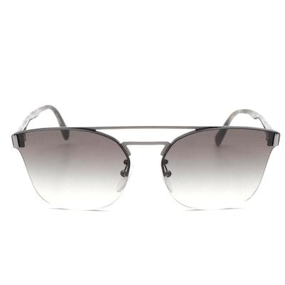Prada SPR 67T Semi-Rimless Modified Cat Eye Gradient Lens Sunglasses