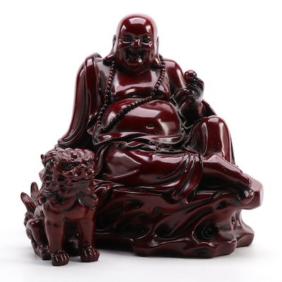 Chinese Happy Buddha and Guardian Lion Figurines