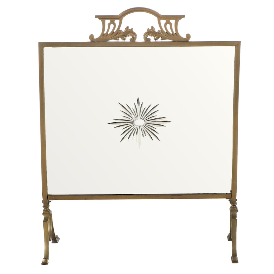 Art Nouveau Brass and Mirrored Glass Fire Screen, Early 20th Century