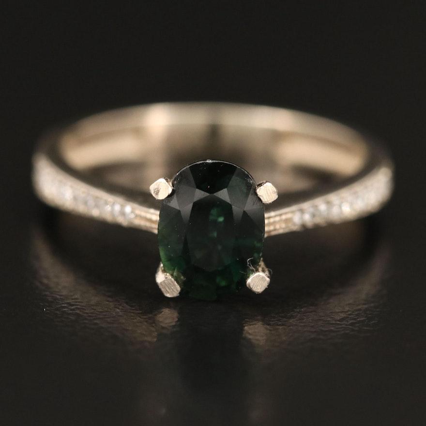 14K 1.36 CT Sapphire and Diamond Ring