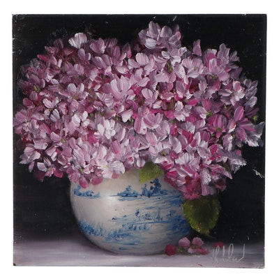 "Thuthuy Tran Floral Oil Painting ""Pink Hydrangeas for Spring"""