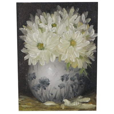 """Thuthuy Tran Floral Oil Painting """"White Daisies"""""""