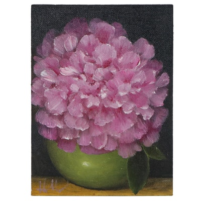 """Thuthuy Tran Floral Oil Painting """"Green Vase, Pink Peony"""""""