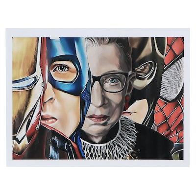 Giclée of Ruth Bader Ginsburg with Superheros, 21st Century