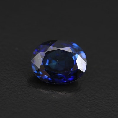 Loose 3.62 CT Oval Faceted Laboratory Grown Sapphire with GIA Report
