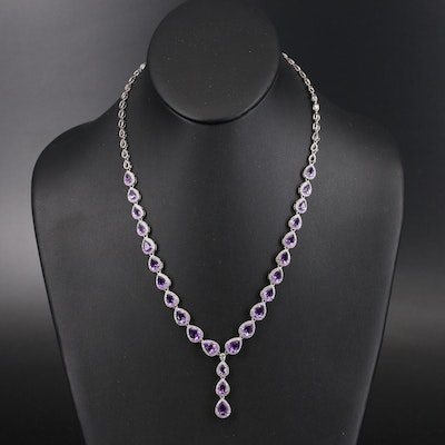 Sterling Amethyst and Cubic Zirconia Graduated Y Necklace