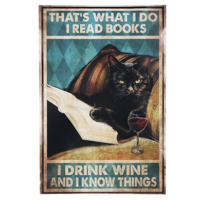 Giclée of Black Cat Reading Book, 21st Century