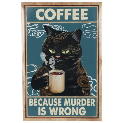Giclée of Black Cat Drinking Coffee, 21st Century