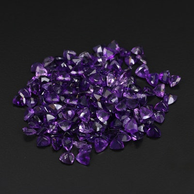 Loose 109.22 CTW Trillion Faceted Amethysts