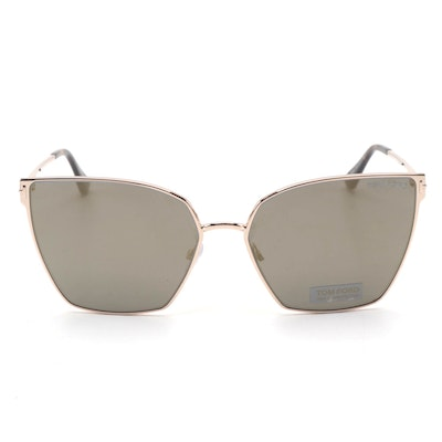 Tom Ford Rose Gold Helena Sunglasses with Mirrored Lenses and Tortoise Tips
