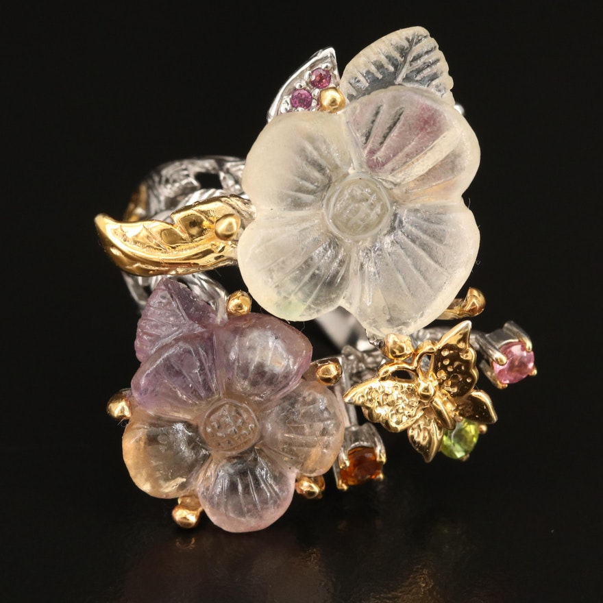 Sterling Fluorite and Gemstone Carved Flower Ring