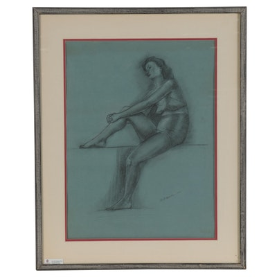 Anita Robertson Beach Figural Charcoal Drawing, 1950