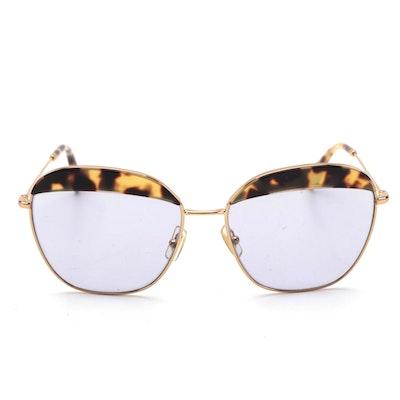 Miu Miu SMU 53Q Gold-Tone Frame Sunglasses with Tortoise Acetate Accents