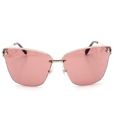 Chopard SCHC19S Semi-Rimless Sunglasses with Rhinestones