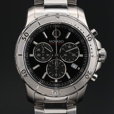 "Movado ""Series 800"" Chronograph Stainless Steel Quartz Wristwatch"