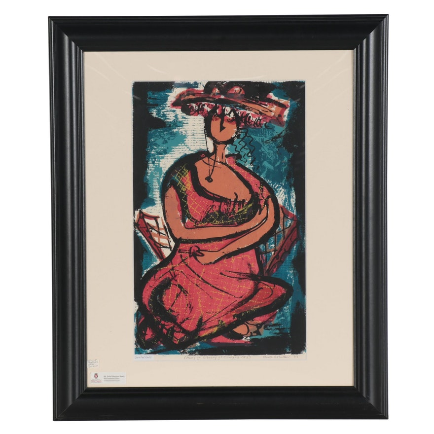 "Anita Robertson Beach Serigraph ""Seated Lady,"" 1952"