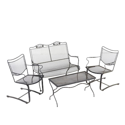 Five-Piece Wrought Iron Patio Lounge Group, Late 20th Century