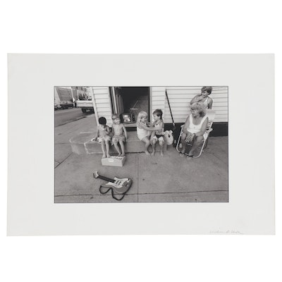 William D. Wade Digital Photograph of Figures on Stoop, Late 20th Century